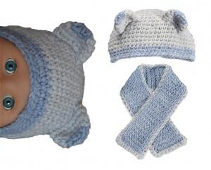 sjaal muts baby lichtblauw